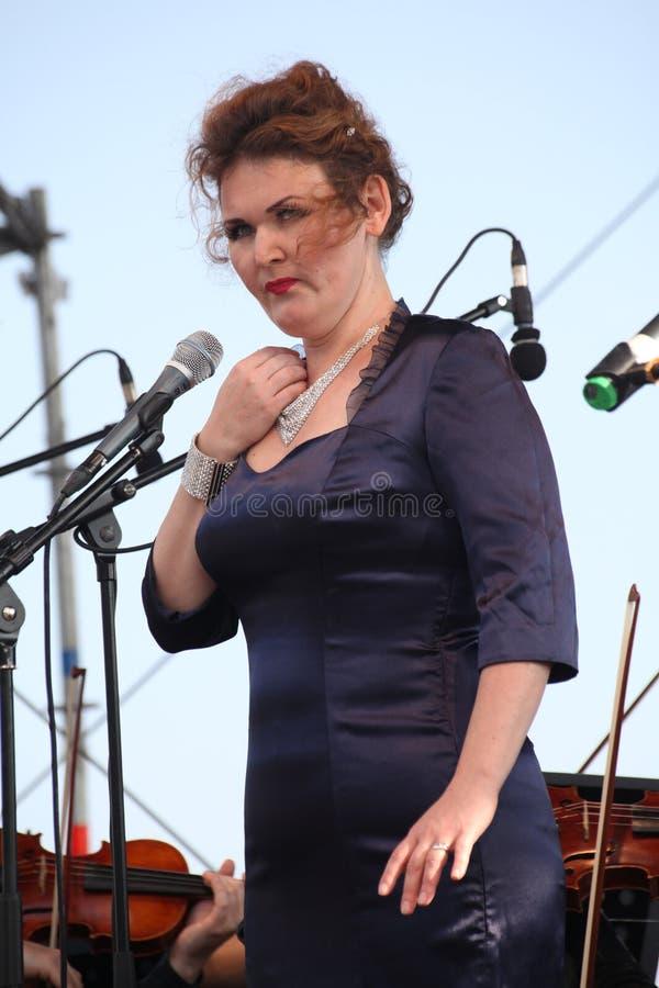 Opera actress and singer Alina Shakirova ( Russia ), mezzo soprano, on the open stage stock photo
