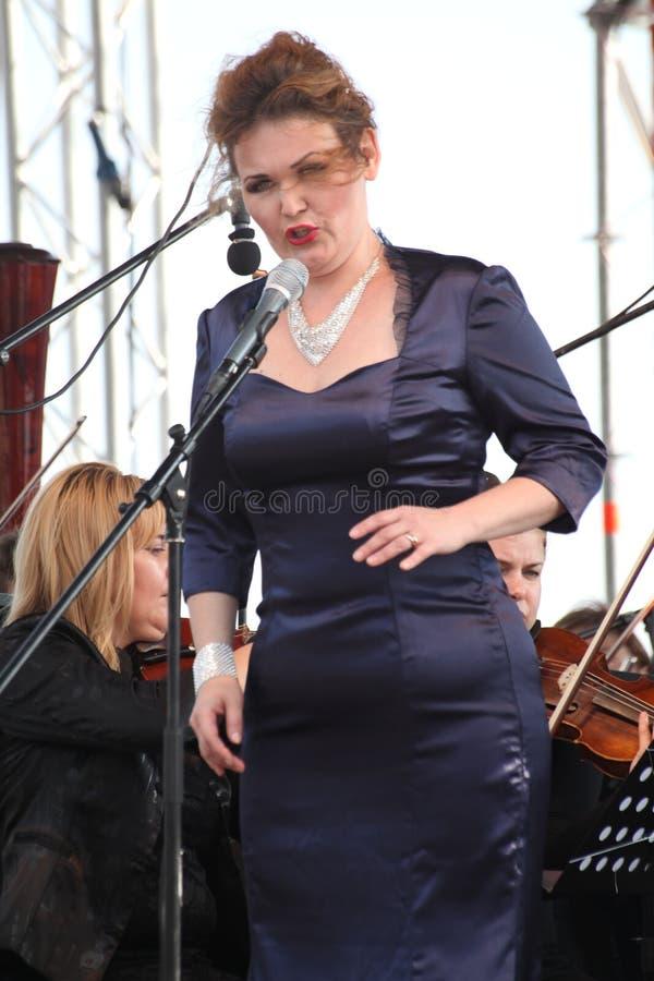 Opera actress and singer Alina Shakirova ( Russia ), mezzo soprano, on the open stage royalty free stock images