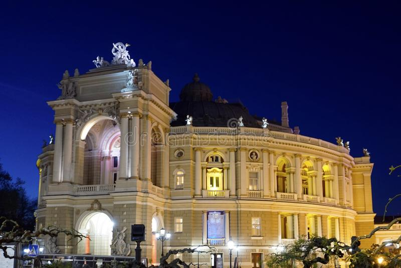 Opera and Ballet Theatre at night in Odessa Ukraine. stock images