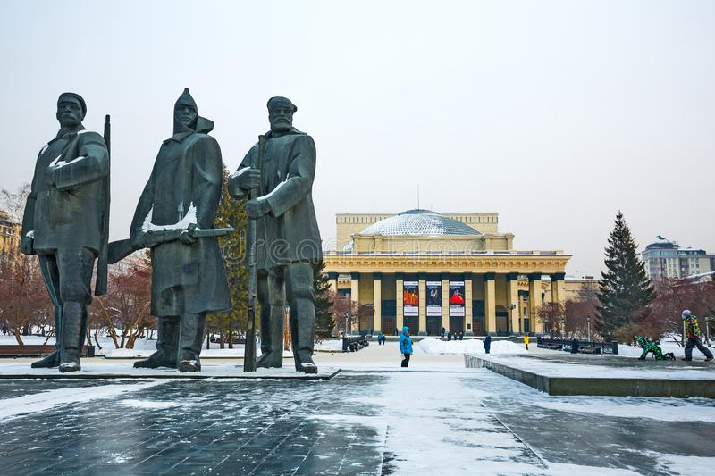 Opera and ballet theatre and sculptural composition. Novosibirsk. Sights, attractions, Novosibirsk state academic Opera and ballet theatre, novat, winter stock image