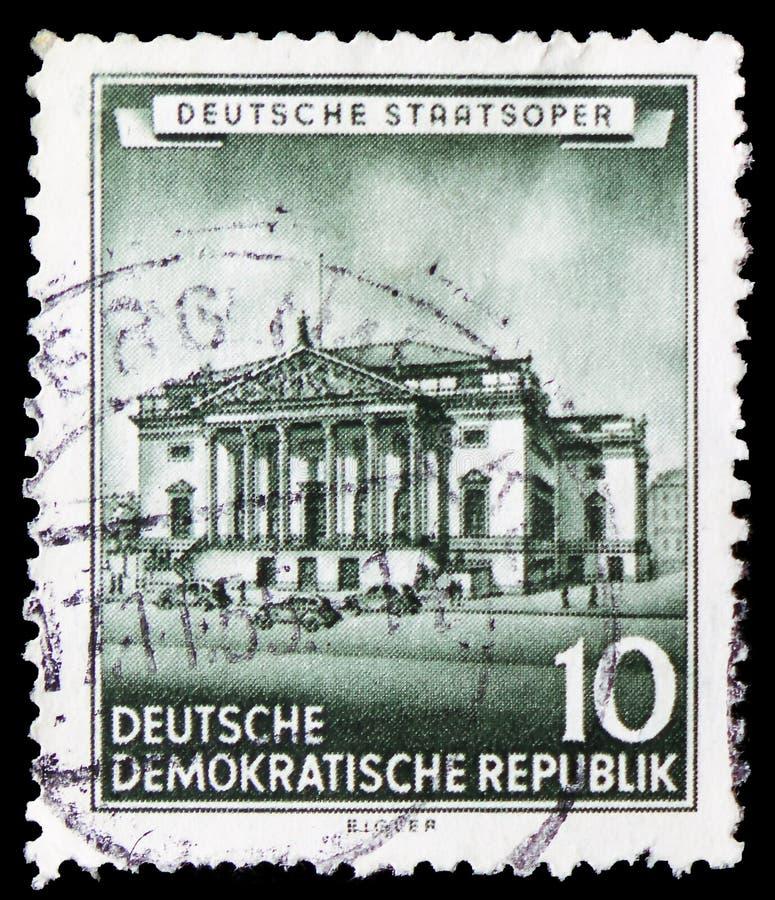 Opera Berlin, återställd historisk byggnadserie för tysk stat, circa 1955 arkivfoto