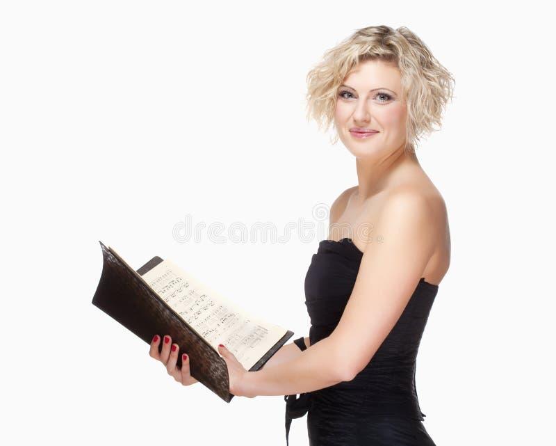 Opera Cantante Singing in suo vestito dalla fase fotografia stock