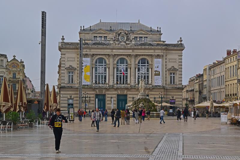 Opera Comedie building at Place de la Comedie square in Montpellier, Herault in Southern France. The opera company, established in 1755, was granted the status stock photo