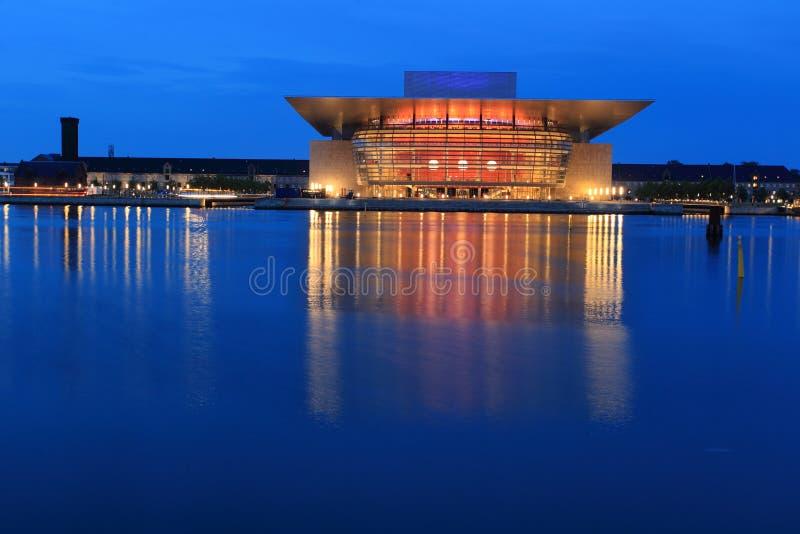 Opera in Copenhagen. The Copenhagen Opera House at sunset in Denmark stock images