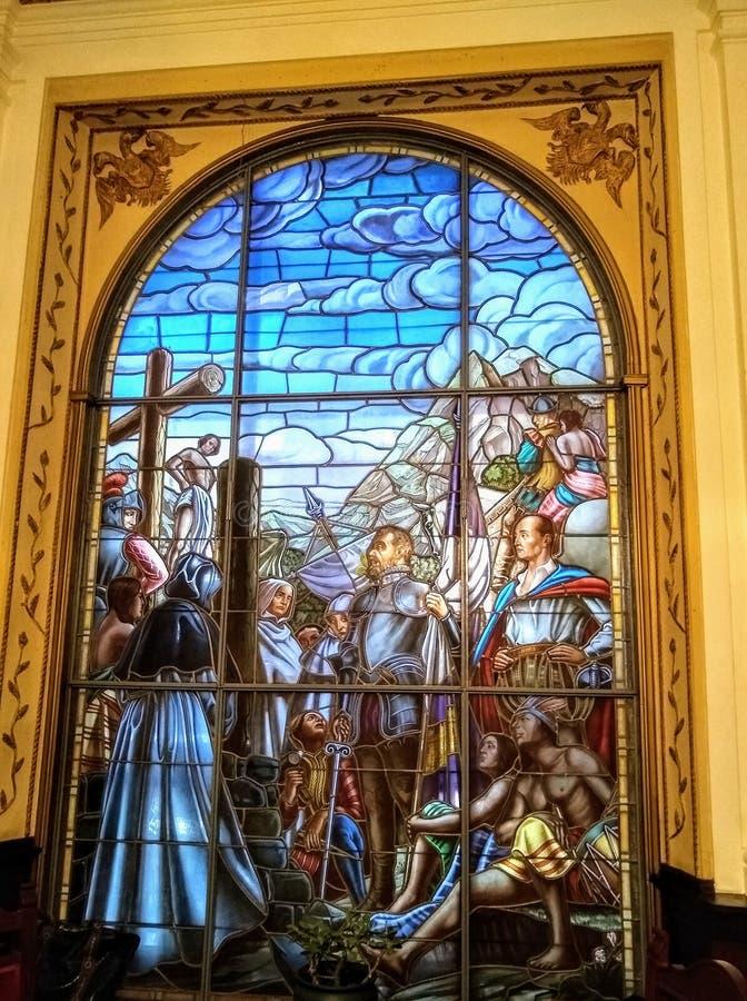 Opera d'arte che rappresenta la città del fondamento di Caracas da Diego de Losada nel 1567 fotografie stock