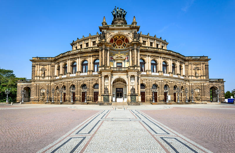 Opera in Dresden, Germany. Dresden, Saxony. Opera house of Dresda, on a sunny day with blue sky. Germany landmark stock image