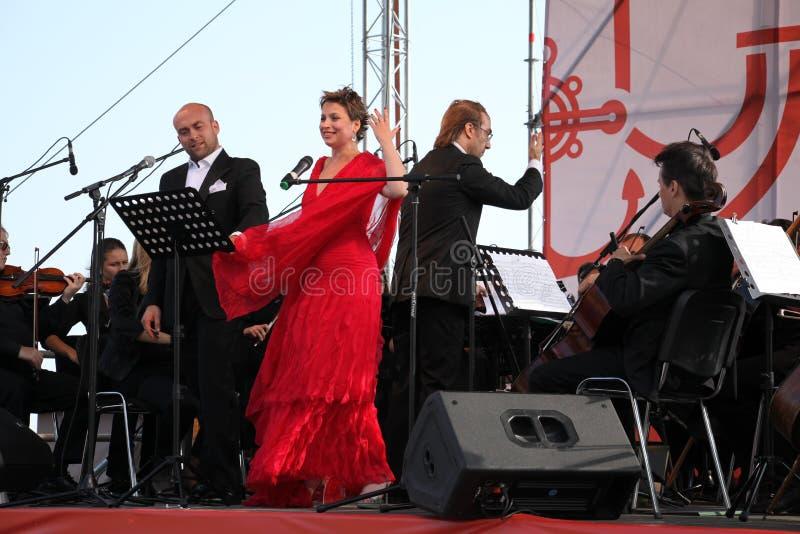 Opera Duo italian opera star aldo caputo , tenor, and daniela schillaci ( la scala, italy ) soprano, on the open stage royalty free stock photography