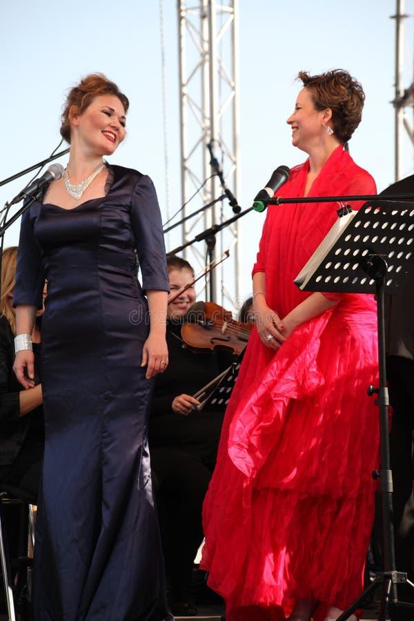 Opera duo - singer Alina Shakirova, russia, mezzo soprano, and Daniela Schillaci, la scala, italy, soprano, on the open stage royalty free stock photo