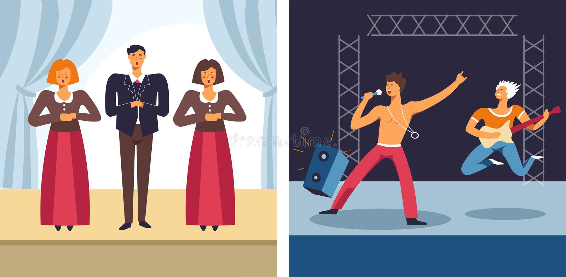 Opera e cantores e músicos do desempenho musical do concerto da música rock ilustração do vetor
