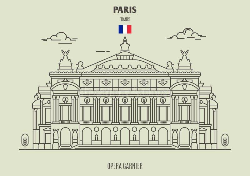 Opera Garnier i Paris, Frankrike Gränsmärkesymbol stock illustrationer