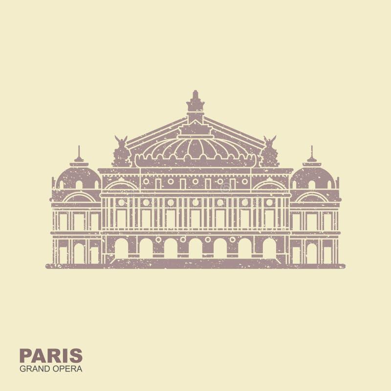 Opera Garnier Paris France Plan vektorsymbol vektor illustrationer