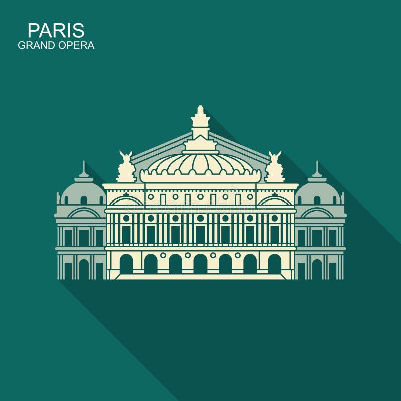 Opera Garnier Paris France Vlak vectorpictogram met schaduw vector illustratie