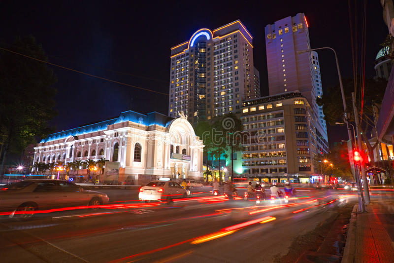 The opera at Ho Chi Minh City, Vietnam. Night shot of the opera at Ho Chi Minh City, Vietnam stock image