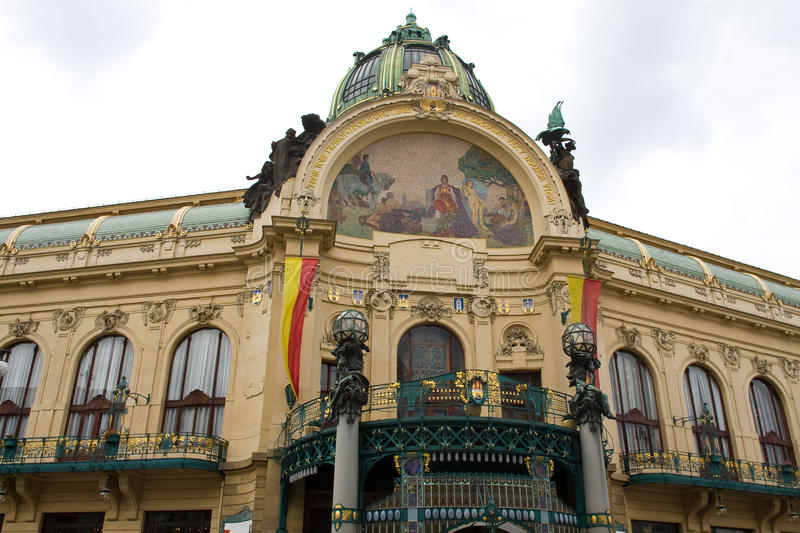 Opera house in Prague. Art nouveau building, Obecni Dum (Municpal House), theatre and opera house in Prague. Artwork by A. Mucha, built 1905-1911 stock photo