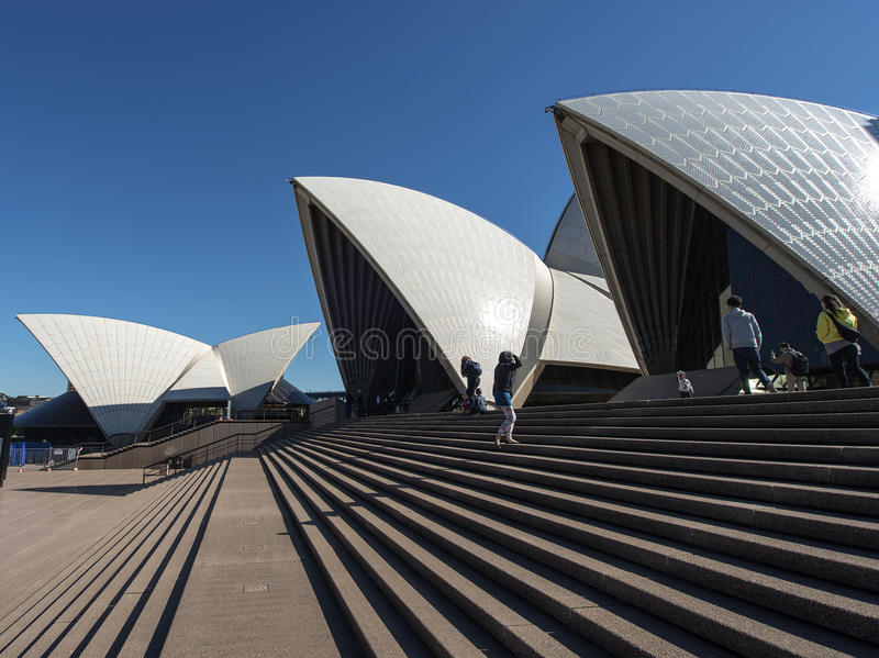 Opera house sails in blue sky stock images