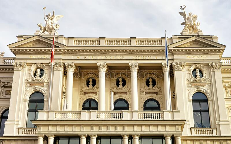 Opera House in Zurich old city center in Switzerland. Mixed media stock images