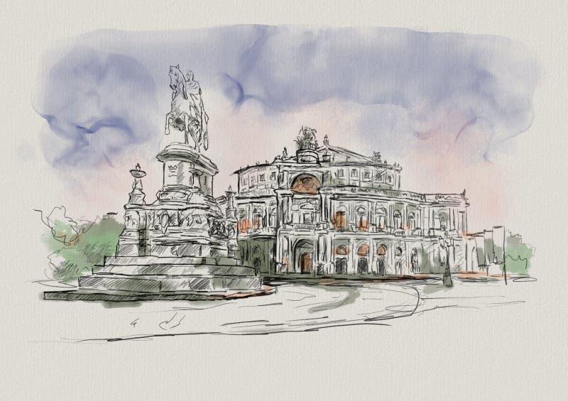 Opera Semper i Dresden i Tyskland royaltyfri illustrationer