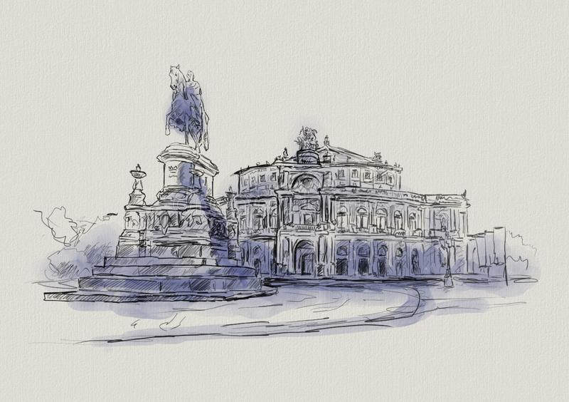 Opera Semper i Dresden i Tyskland stock illustrationer