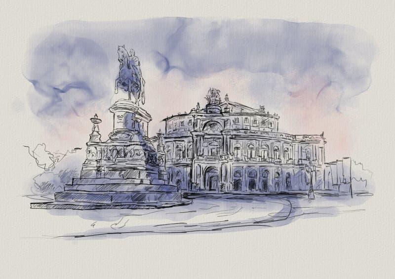 Opera Semper i Dresden i Tyskland vektor illustrationer