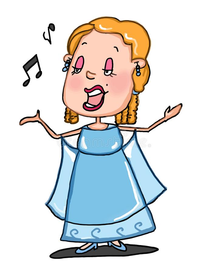 Opera singer illustration drawing cartoon and white background vector illustration