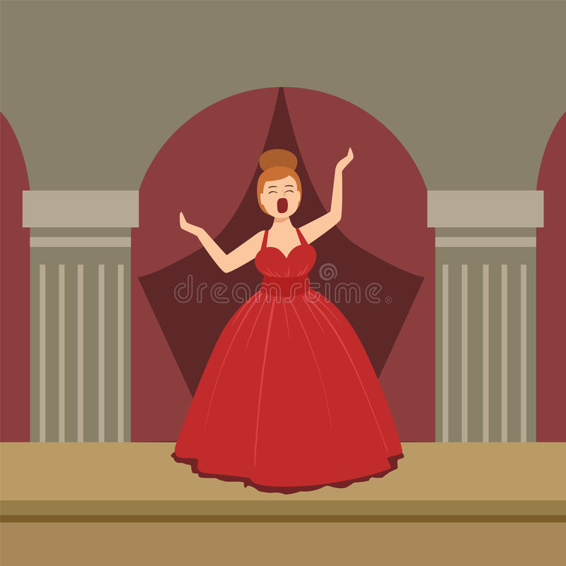 Opera Singer In Red Dress Performing On Stage royalty free illustration