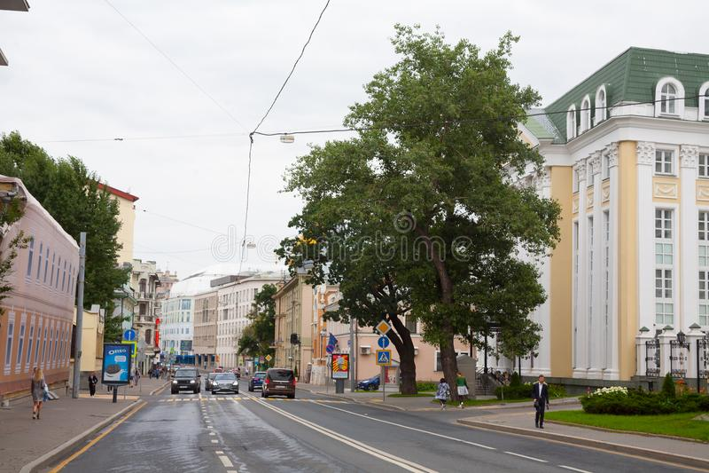 Opera Singing Center and Ostozhenka street 23.07.2018 stock photo