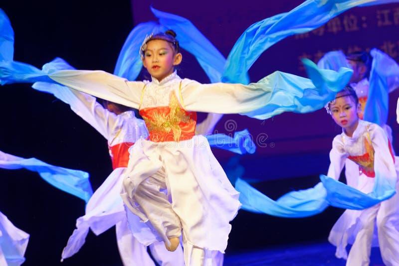 Opera sleeves dance- Beijing Dance Academy grading test outstanding children`s dance teaching achievement exhibition Jiangxi. Sponsored by the Beijing Dance royalty free stock photography
