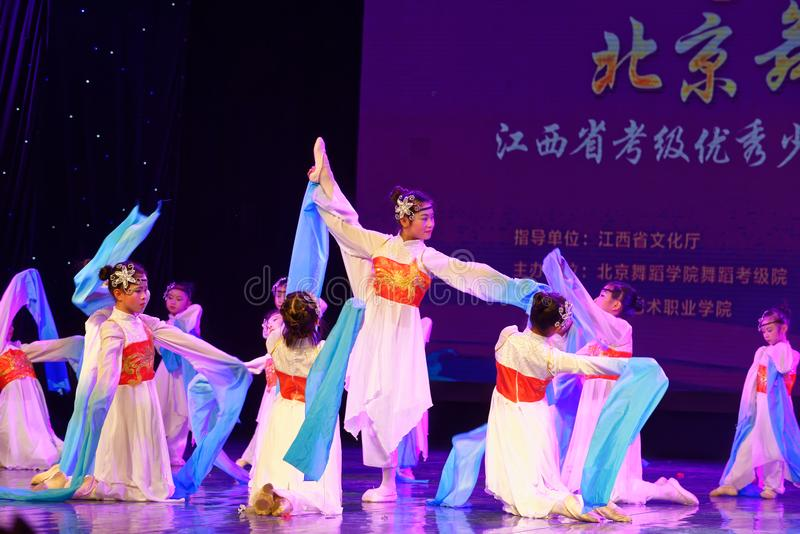 Opera sleeves dance- Beijing Dance Academy grading test outstanding children`s dance teaching achievement exhibition Jiangxi. Sponsored by the Beijing Dance royalty free stock image