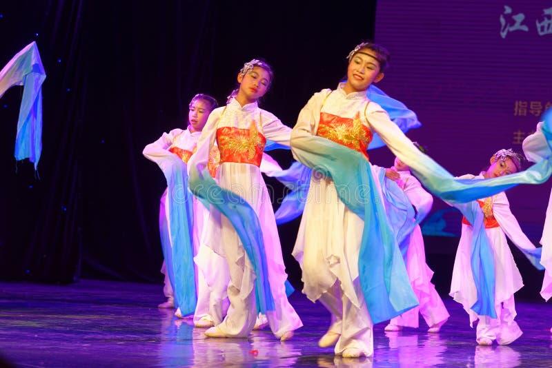 Opera sleeves dance- Beijing Dance Academy grading test outstanding children`s dance teaching achievement exhibition Jiangxi. Sponsored by the Beijing Dance stock images