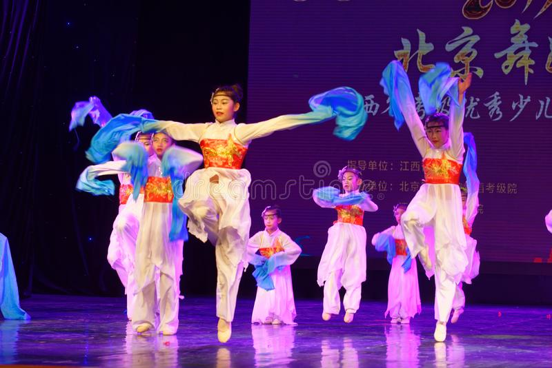 Opera sleeves dance- Beijing Dance Academy grading test outstanding children`s dance teaching achievement exhibition Jiangxi. Sponsored by the Beijing Dance royalty free stock photo