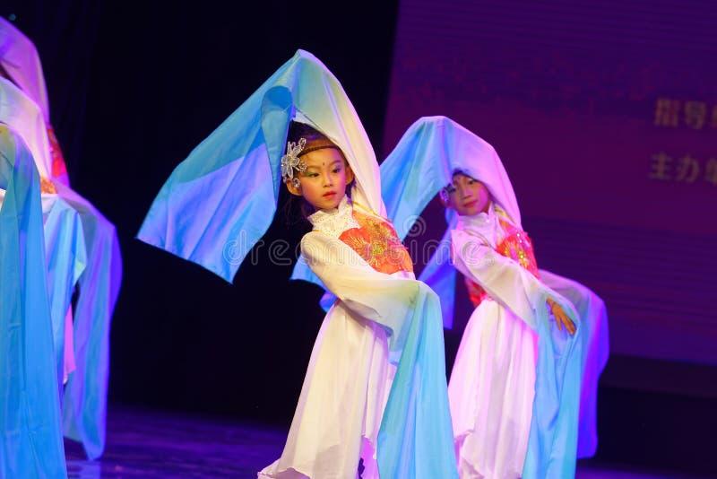 Opera sleeves dance- Beijing Dance Academy grading test outstanding children`s dance teaching achievement exhibition Jiangxi. Sponsored by the Beijing Dance stock photos