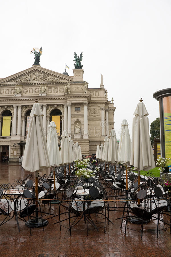 Opera theater and cafe before him. Lviv royalty free stock photos
