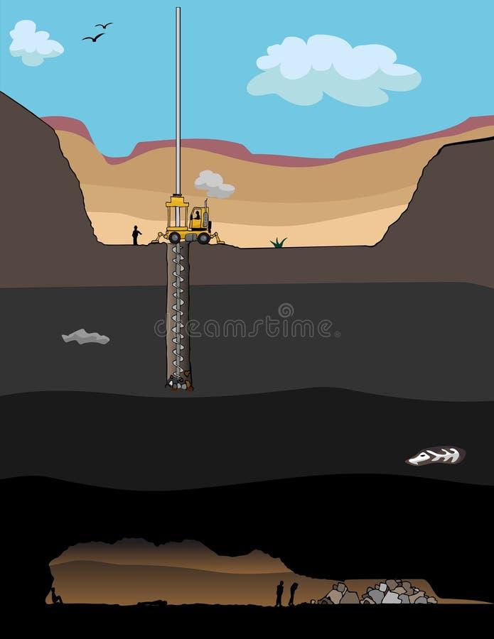 Operación de rescate del minero ilustración del vector