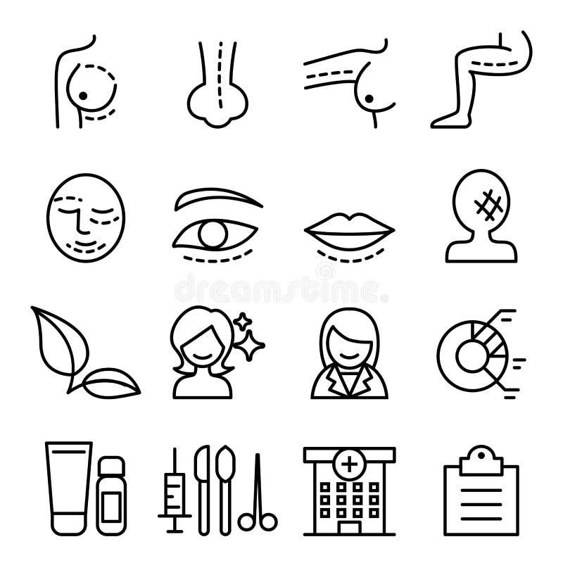 Operaci ikona ustawiająca w cienkim kreskowym stylu ilustracja wektor