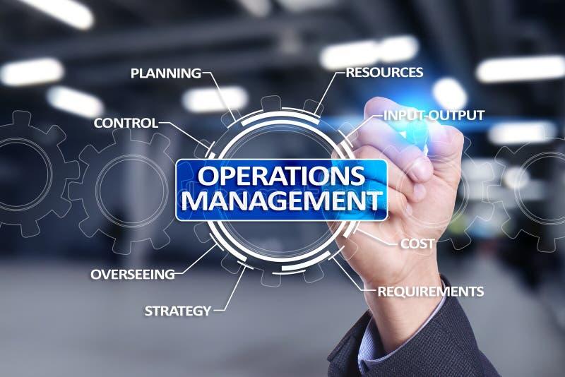 Operaci zarządzania biznes i technologii pojęcie na wirtualnym ekranie obraz stock