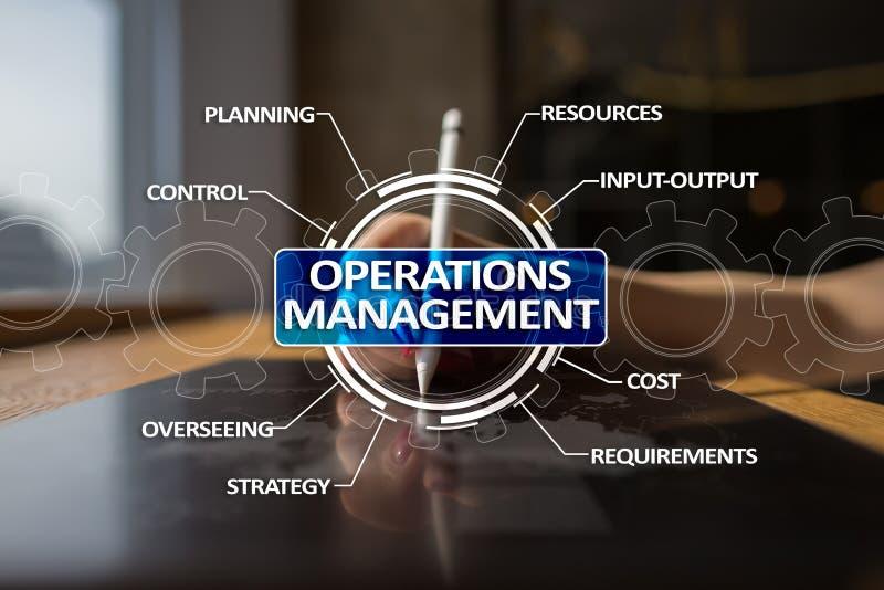 Operaci zarządzania biznes i technologii pojęcie na wirtualnym ekranie ilustracji