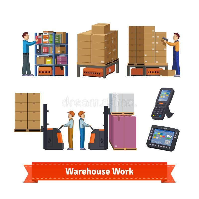 Operaciones, trabajadores y robots de Warehouse stock de ilustración