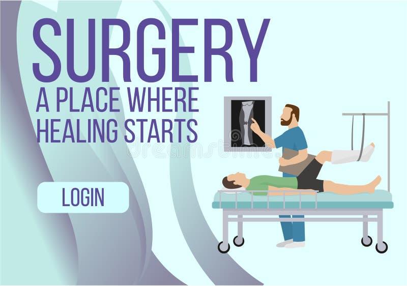 Operacja sztandar Miejsce dokąd uzdrawiać zaczyna wektorową ilustrację Przełam noga, zwichnięcie lub drzeć noga, ilustracji
