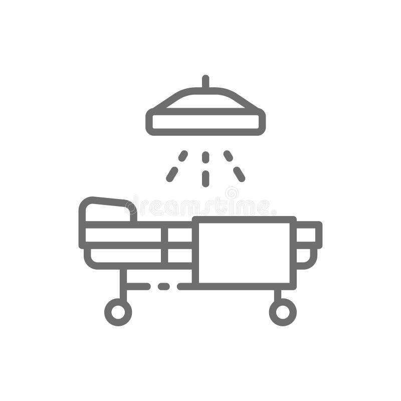 Operacyjny stół, resuscitation, medycyna oddział, łóżko szpitalne z medycznymi equipments wykłada ikonę ilustracja wektor