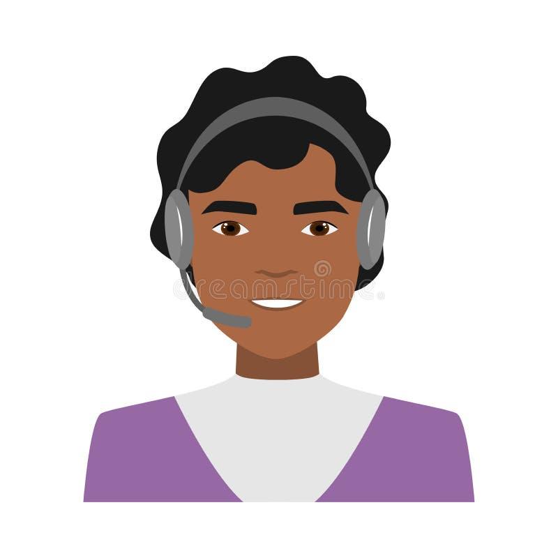 Operador afro-americano bonito da mulher do centro de atendimento ilustração royalty free