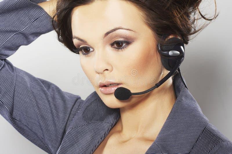 Operador agradável da linha de apoio a o cliente imagens de stock