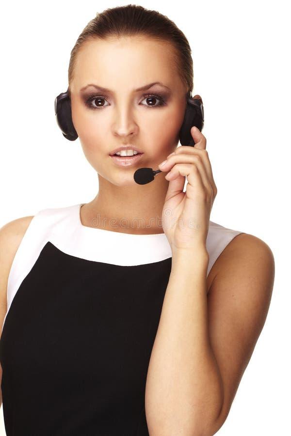 Operador agradável da linha de apoio a o cliente com auriculares imagem de stock royalty free