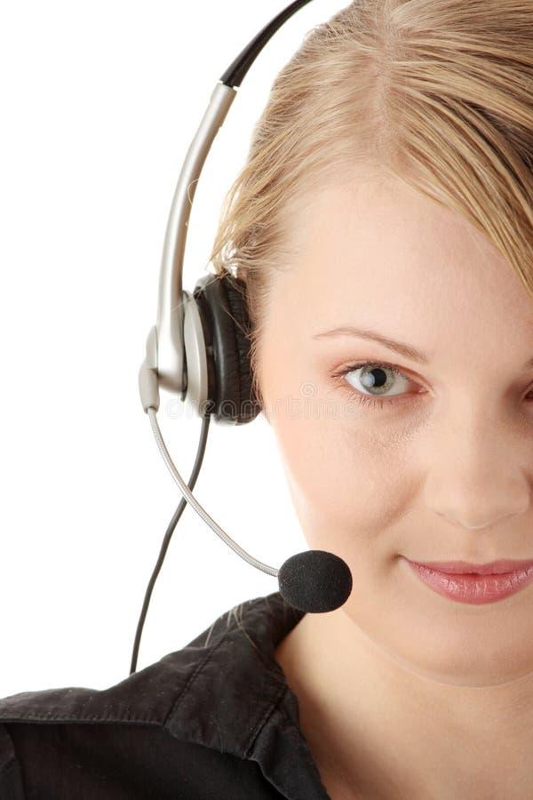 Operador bonito do serviço de atenção a o cliente imagem de stock