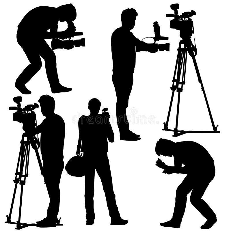 Operador cinematográfico com câmara de vídeo. Silhuetas no branco ilustração stock