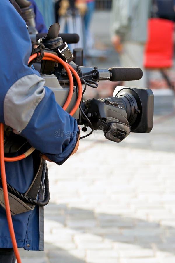 Operador da câmera, os media fotografia de stock