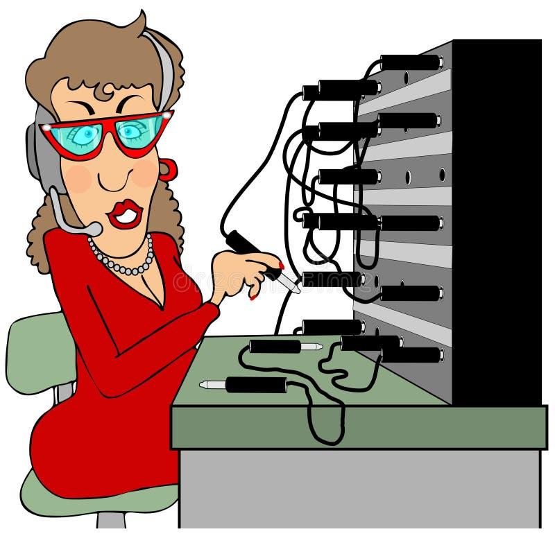 Operador de centralita telefónica ilustración del vector