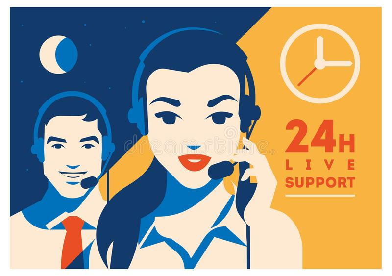 Operador de centro de atención telefónica con el cartel de las auriculares Servicios y comunicación, atención al cliente, ayuda d stock de ilustración
