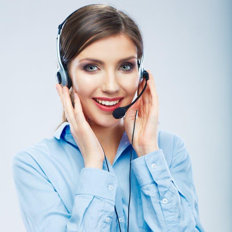 Operador de centro de atención telefónica de la mujer Jóvenes femeninos de la mujer de negocios fotos de archivo libres de regalías