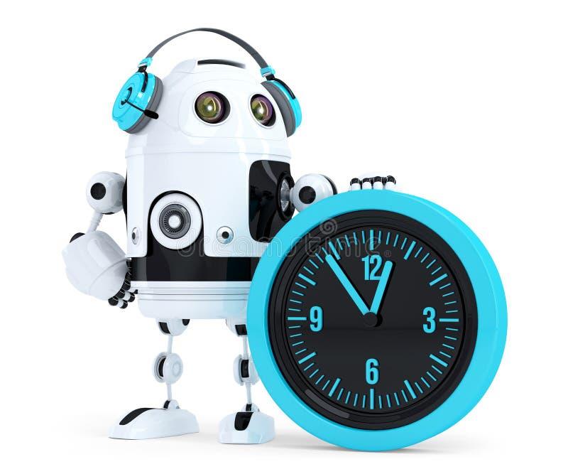 Operador de centro de atención telefónica del robot Contiene la trayectoria de recortes ilustración del vector