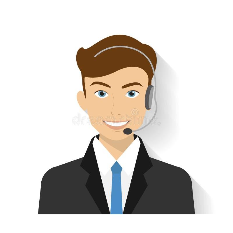 Operador de centro de sexo masculino de llamada libre illustration